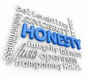 Honesty Sincerity 3d Word Collage Reputation Integrity Virtues — Stock Photo