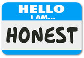 Hello I Am Honest Nametag Sticker Trusted Reputation — Stock Photo