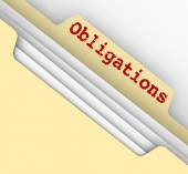 Obligations Word Manila File Folder Responsibilities Documents — Stock Photo