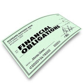 Financial Obligations Check Money Payments Bills Due — Stock Photo