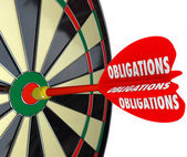 Obligations Dart Board Success in Meeting Responsibilities — Stock Photo