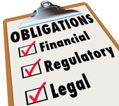 Obligations Checklist Check Mark Boxes Legal Regulatory Financia — Stock Photo