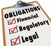 Obligations Checklist Check Mark Boxes Legal Regulatory Financia — Stockfoto
