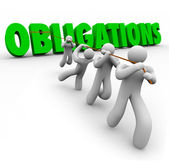 Obligations Word Pulled Up by Team Workers Together — Stock Photo