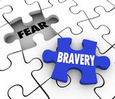 Bravery Vs Fear Puzzle Piece Filling Hole Courage Confidence — Stock Photo