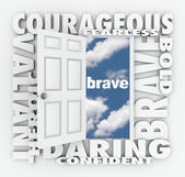 Brave Courage Daring Word Door Open to Success — Stock Photo