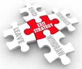 Exit Strategy Puzzle Pieces Words Way Out Plan Clause — Stock Photo