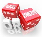 Passive or Aggressive Words Two Red Dice Bold Vs Meek — Stock Photo