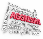 Aggressive Bold Forceful 3d Words Text Background — Stock Photo