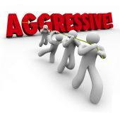 Aggressive 3d Word Pulled by Determined Team Workers — Stok fotoğraf