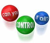 Can You Control It All Words Juggling Balls Priorities — Stock Photo