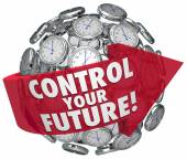 Control Your Future Words Clocks Ticking Forward Progress — Photo