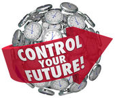 Control Your Future Words Clocks Ticking Forward Progress — Zdjęcie stockowe