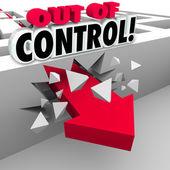 Out of Control Arrow Breaking Through Maze Walls — Stock Photo