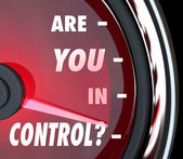 Are You In Control Words Speedometer Leader Organization — Stockfoto