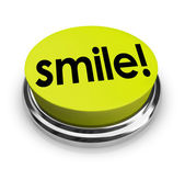 Smile Word Yellow Button Funny Humor Good Spirits — Foto de Stock