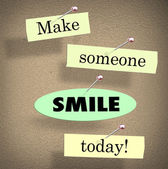 Make Someone Smile Today Quote Saying Bulletin Board — Foto de Stock