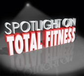 Spotlight on Total Fitness 3d Words Healthy Lifestyle — Stock Photo