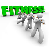 Fitness Word Team Exercising Pulling Together Physical Strength — Stock Photo