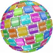 Fitness Exercise Physical Health Words Globe Ball — Stock Photo
