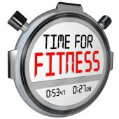 Time for Fitness Words Stopwatch Timer Training Exercise — Zdjęcie stockowe