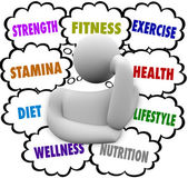Fitness Words Person Thinking Exercise Diet Wellness Plan — Stockfoto