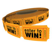 Enter to Win Raffle Ticket Roll Fundraiser Charity Lottery Luck — Stock Photo