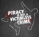 Piracy Is Not a Victimless Crime Chalk Outline Copyright Violati — Stock Photo