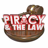 Piracy and the Law Words Judge Gavel Illegal Downloads — Stockfoto