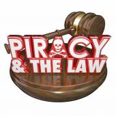 Piracy and the Law Words Judge Gavel Illegal Downloads — Stock Photo