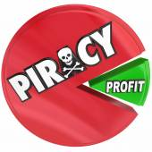 Piracy Pie Chart Eating Profits Illegal Copyright Theft Violatio — Zdjęcie stockowe
