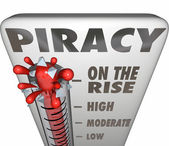 Piracy On the Rise Thermometer Measuring Illegal File Sharing Do — Stock Photo