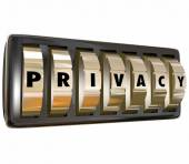 Privacy Word Gold Lock Dials Protect Personal Infromation Data S — Foto Stock