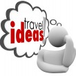 Travel Ideas Thinker Thought Cloud Brainstorming Vacation Plan — Stock Photo #52850749
