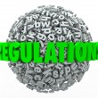 Regulations Word Letter Ball Sphere Rules Laws Guidelines — Stock Photo #52852157
