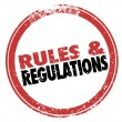 Rules and Regulations Red Ink Stamp Follow Laws Guidelines — Stock Photo #52852255