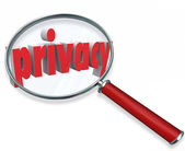 Privacy Word Magnifying Glass Private Sensitive Information Prot — Stock Photo