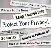 Protect Your Privacy Newspaper Headlines Important Iinformation — Stock Photo