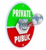 Private Vs Public Words Toggle Switch Privacy or Shared Informat — Stockfoto