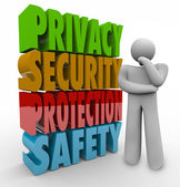 Privacy Security Protection Safety Thinker 3d Words — Stock Photo