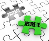 Privacy Secure It Words Puzzle Piece Gap Safety Private Informat — Stok fotoğraf