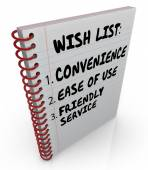 Wish List Written Notebook Convenience Ease Use Friendly Service — Zdjęcie stockowe