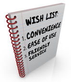 Wish List Written Notebook Convenience Ease Use Friendly Service — Stock Photo