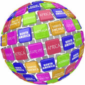 World Continent Names on 3d Globe Tiles Travel Around Earth — Stock Photo