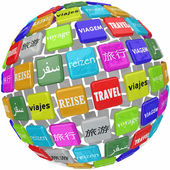 Travel Word Translation Different Global Languages Culture World — Stock Photo