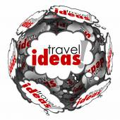 Travel Ideas Thought Cloud Sphere Vacation Plan Brainstorming — Stock Photo