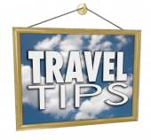 Travel Tips Hanging Sign Agency Advice Helpful Information — Stock Photo