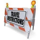 Travel Restrictions Road Construction Barrier Warning Danger Sig — Foto de Stock