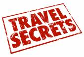 Travel Secrets Stamp Red Ink Advice Tips Information — Stock Photo