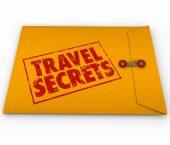 Travel Secrets Yellow Confidential Envelope Tips Advice Informat — Stock Photo